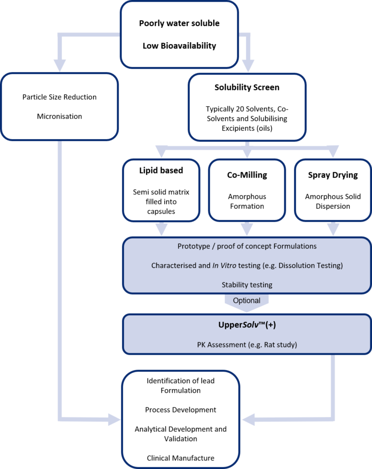 Flow diagram illustrating the UpperSolv™ enabling technology screening process which minimises the chance a clients final dosage form will fail clinical trials due to insufficient bioavailability