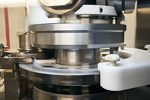 Futorque Rotary Tablet Press in motion during clinical tablet manufacture at Upperton Pharma Solutions